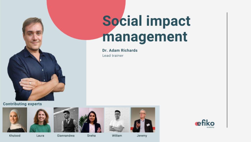 Online Social Impact Management course with Adam Richards by Efiko Academy