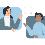 two people speaking to each other with speech bubbles illustration