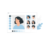 webpage where a woman's appearance is edited with different hair styles for personalization illustration