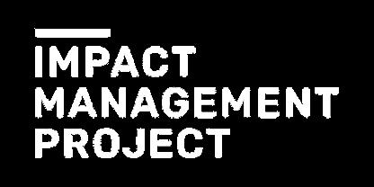 white logo of social impact organization Impact Management Project