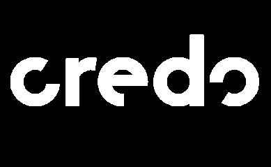 white logo of social impact organization Credo