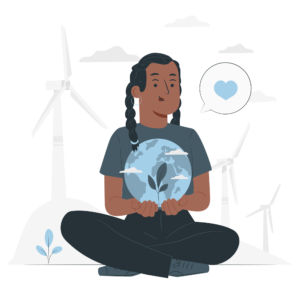 Woman holding the planet and leafs, environment, sustainability