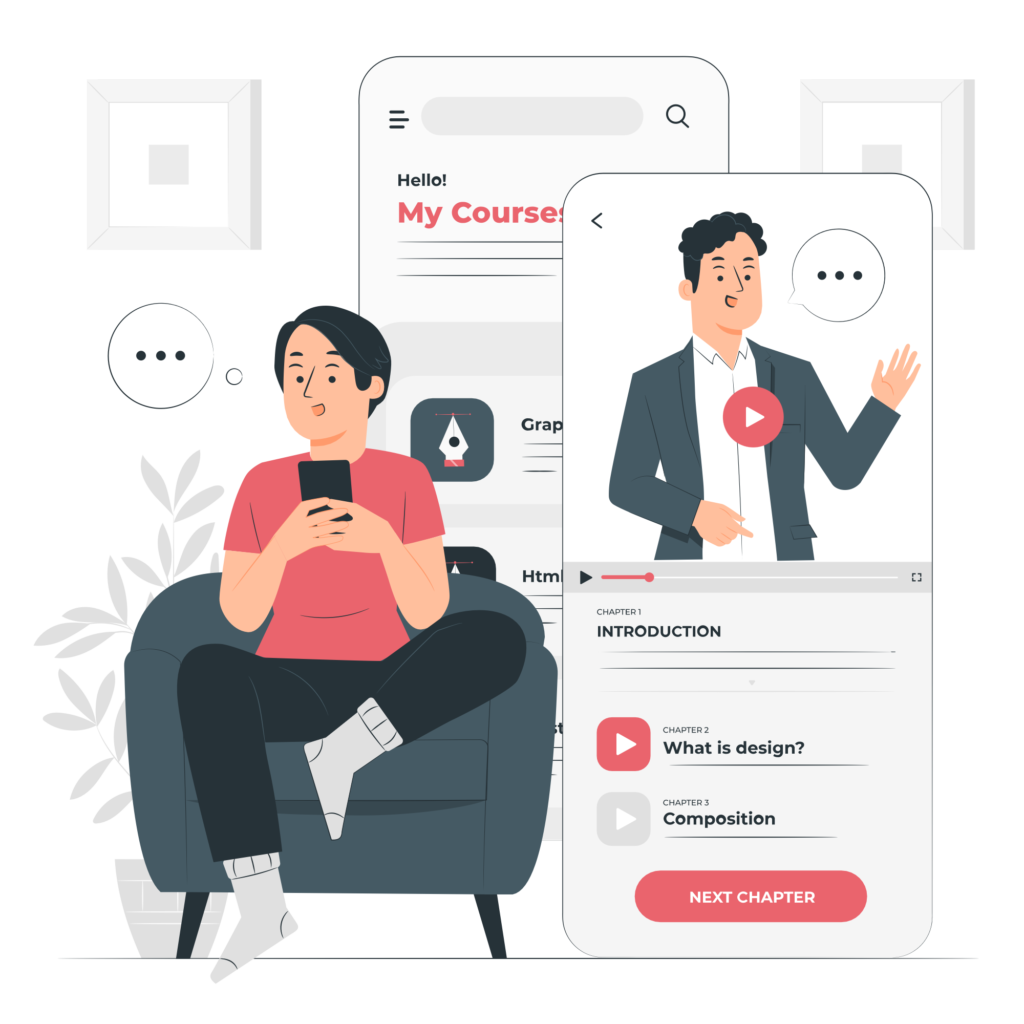 Online course illustration on mobile with videos
