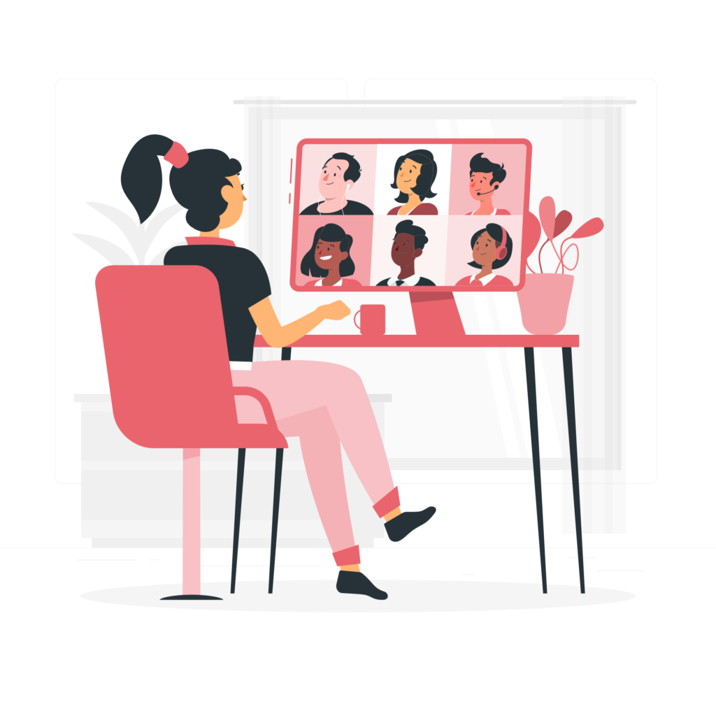 Illustration of a zoom meeting social learning