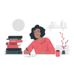 Black girl studying alone with books illustration